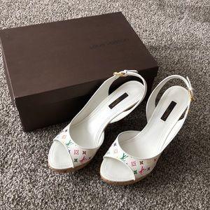 Louis Vuitton white multicolor cork heels